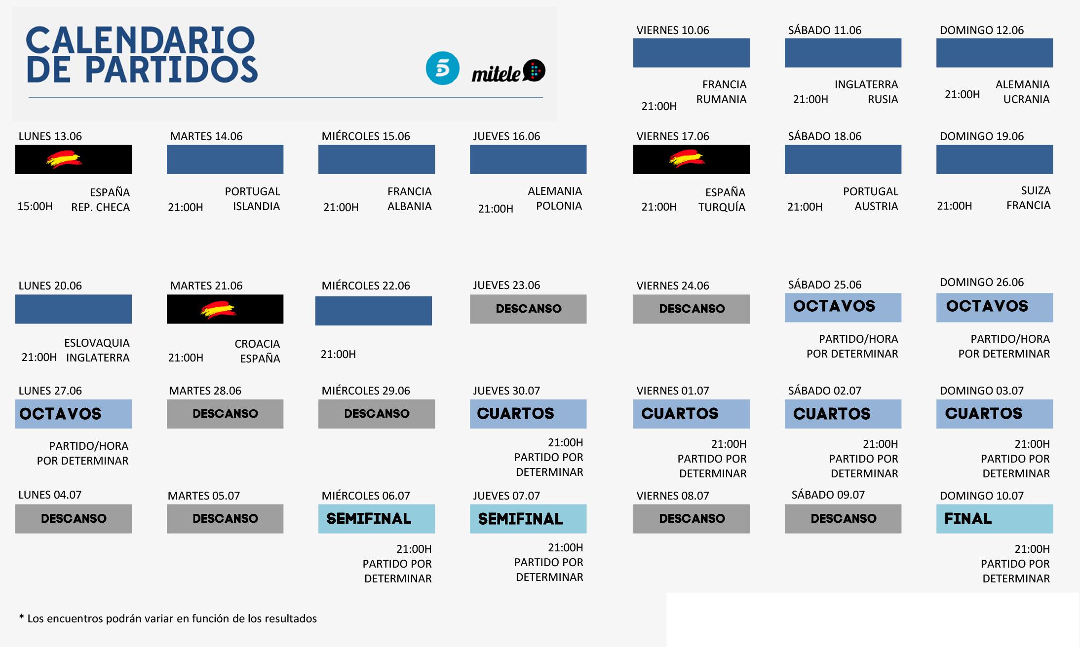 Calendario Eurocopa Mediaset