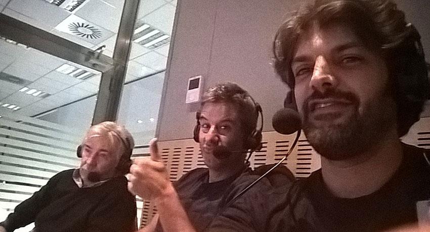 Ángel Nieto, Nico Abad y Sergio Romero, en la retransmisión.